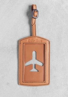 Stories.com / luggage tag / Beige / Leather / Style / Travel / Aiplane