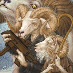 RPG Gruffs by priscellie on DeviantArt Billy Goats Gruff, Dresden Files, World Of Darkness, Conte, Fantasy Art, Dark Fantasy, Mythology, Sheep, Illustrators