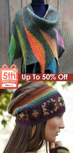 #Newchic5thAnniversary|Women's Casual Multicolor Stripes Round Neck Scarves & Hats Clothing Patterns, Knitting Patterns, Crochet Patterns, Crochet Chart, Knit Crochet, Cheap Clothes Online, Crochet World, Scarf Hat, Neck Scarves