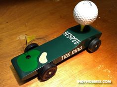 """This was made for the architecture firm where I worked for many years. It is called the """"TEE BIRD"""" . Yep, that's a fresh Callaway Golf Ball on top! Girl Scout Swap, Girl Scout Leader, Pinewood Derby Cars, Brownie Girl Scouts, Girl Scout Crafts, Model Hobbies, Lego Blocks, Eagle Scout, Crafts For Girls"""
