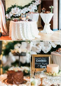 Beautiful tablecloth // lovely flowers in the background // dessert bar closed sign Candy Buffet Signs, Candy Signs, Candy Table, Fiesta Decorations, Gold Wedding Decorations, Outdoor Wedding Reception, Wedding Table, Wedding Ideas, Candy Bar Decoracion
