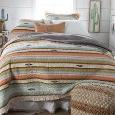 Painted Desert Ruffle Quilt Set Types Of Furniture, New Furniture, Furniture Making, Bedroom Furniture, Furniture Design, Rustic Bedroom Design, Rustic Master Bedroom, Design Room, Bedroom Designs