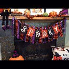 Halloween Burlap Banner Spooky Burlap Banner by QueensBanners