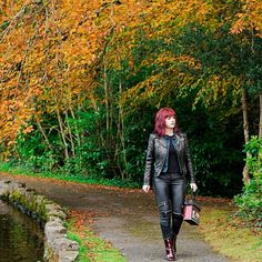 #Autumnal look of the day.  Keep up to date with what i do best (customize clothing on my web link below) reworkedbynicolle.com  #reworkedbynicolle #leaves #harpersbazaar #nylon #leather #craignos #wales #welsh #bright #asos #zips #vendula #vogue #fashionweek #trendsettersbazaar #rock #fierce #biker