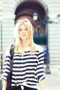 Sienna Miller in stripes.