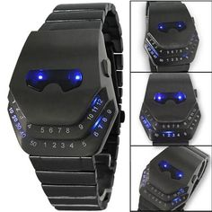 Fashion Men Quartz Luxury Digital Watches Snakelike Watch Black with Blue Light LED Wristwatches Stainless Steel Watch Iron Man - Allied Mall Best Smart Watches, Cool Watches, Watches For Men, Cheap Watches, Men's Watches, Cartier, Iron Man, Led Watch, Beautiful Watches