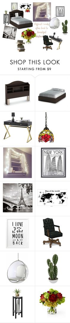 """""""Bedroom with feminine touch"""" by poochie-lover on Polyvore featuring interior, interiors, interior design, home, home decor, interior decorating, South Shore, Stephenson, Abigail Ahern and Convenience Concepts"""