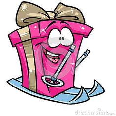 Gift happy winter skiing cartoon illustration isolated image character
