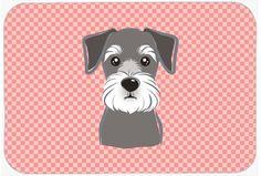 Checkerboard Pink Schnauzer Mouse Pad - Hot Pad or Trivet BB1206MP #artwork #artworks