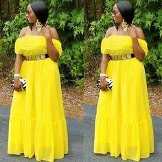 Belle Off Shoulder Maxi Dress – Brick Built Women Fashion Big Girl Fashion, Curvy Women Fashion, Look Fashion, Plus Size Fashion, African Dresses For Women, African Fashion Dresses, African Clothes, Chiffon Maxi Dress, Strapless Dress Formal