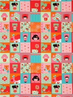 Patchwork kawaii Kokeshi doll fabric by Robert Kaufman USA 2