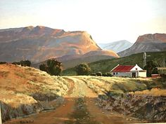 Karoo sunlight - by Rika De Klerk. The Karoo is a semi-desert in South Africa. Landscape Art, Landscape Paintings, Landscape Photography, South African Artists, Out Of Africa, Beautiful Paintings, Amazing Art, Beautiful Places, Natural