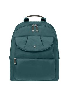 Cute and cleverly organized, the Commuter backpack is a smart choice for work or travel. Padded panels cushion your tablet computer, while internal and external pockets keep the rest of your gear organized. Attractive faux-leather accents on the zip pulls and handle. Adjustable straps. 98.00