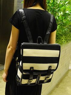 Striped Buckled Backpack, Black and White , One Size - Smoothie | YESSTYLE $38