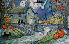 Alida Akers' Storybook Cottage Series - A Country Halloween Country Halloween, Halloween Art, Vintage Halloween, Halloween Printable, Halloween Night, Halloween Stuff, Storybook Homes, Storybook Cottage, Cute Cottage