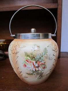 Cookie Jar -- Beautiful Hand Painted Antique Victorian English Ceramic Silver Biscuit Barrel.
