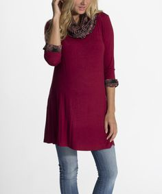Another great find on #zulily! Burgundy Cowl Neck Maternity Tunic by PinkBlush Maternity, $30 !!   #zulilyfinds