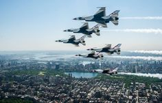 """As part of New York's Fleet Week, Memorial Day, and to promote the Bethpage Air Show this weekend, the USAF Thunderbirds roared high above New York City in their signature six-ship delta formation. A F-16D also whizzed around to capture these awesome photos. What It's Like To Fly In The Military's Crazy V-22 Osprey What It's Like To Fly In The Military's Crazy V-22 Osprey What It's Like To Fly In The Military's Cr """"Oh yeah, they're going to have an Osprey,"""" the NYPD K-9 unit policeman told…"""