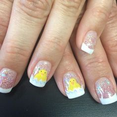Easter chick nail