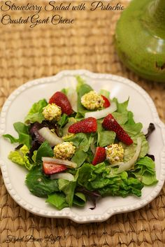 Healthy, low calorie and fat - Strawberry Salad with Pistachio Crusted Goat Cheese www.fooddonelight.com