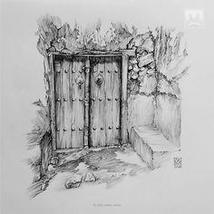 AFSHIN AMINI ART STUDIO | #AfshinAminiArt #PenAndInkDrawing #Sketchbook #Art #Drawing #Sketching #PenDrawing #InkDrawing Ink Pen Art, Ink Pen Drawings, Paris Illustration, Ink Illustrations, Bridge Drawing, Perspective Drawing Lessons, Drawing Artist, Drawing Techniques, Fruit Sketch