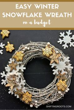 Make this winter snowflake wreath on a budget with discounted Christmas ornaments. It's an easy DIY that will only take you 30 minutes.