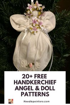 Cheap Christmas Gifts, Christmas Crafts, Christmas Ornaments, Christmas Decorations, Handkerchief Crafts, Popular Crafts, Types Of Craft, Vintage Handkerchiefs, Doll Tutorial