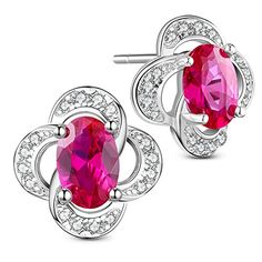 Charming 925 Sterling Silver Ear Studs, Micro Pave Cubic Zirconia Four Leaf Clover, with Rose Red AAA Cubic Zirconia, Platinum, 9x9mm