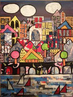 """Collage City by kelliperk.deviantart.com  """"Original colagem dos meios mistos """"pintura"""" de uma paisagem urbana, para os meus netos"""""""