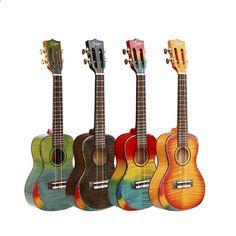 Δωρεάν αποστολή Solid Spruce 23inch Rainbow χρώμα μικρό κιθάρα Ukulele φωτεινά κελύφη Flamed Maple υψηλής γυαλάδας Uklele κλασικό κεφάλι Rainbow Colors, Bright Colors, Ukulele, Shells, Music Instruments, High Gloss, Free Shipping, Rainbow Colours, Musical Instruments