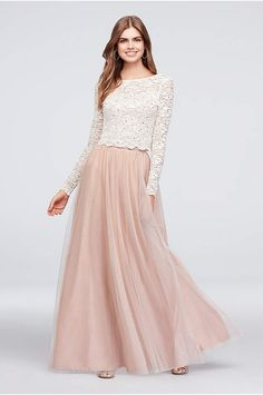 Dotted Glitter Lace Top and Tulle Skirt Set - A perfect pairing of glitter lace and glitter-dotted Grad Dresses, Modest Dresses, Stylish Dresses, Dress Outfits, Bridesmaid Dresses, Formal Dresses, Long Lace Skirt, Chiffon Skirt, Long Tulle Skirts