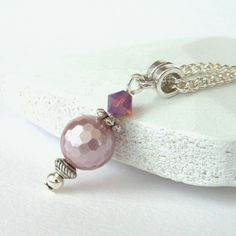 Pink Shell Pearl & Swarovski crystal necklace by Beadstorm Jewellery