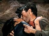 """""""Duel in the Sun"""" (1946)--A final notorious and infamous shoot-out scene at the film's end was the climax of the love-hate affair between half-breed Pearl (Jennifer Jones) and """"bad"""" Lewt (Gregory Peck), who dies mid-kiss and she shortly thereafter in a bloody embrace in the dust"""