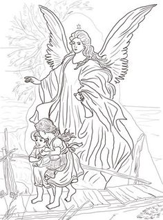 Click Children Are Protected By Guardian Angel Coloring Page For
