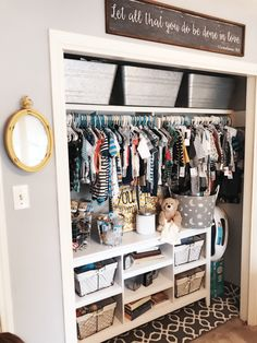 Adding a low shelf to your nursery closet is so helpful!