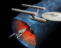 """Constitution class starships Enterprise (NCC-1701) and Constellation (NCC-1017) from Bridge Commander screenshot of classic TOS episode """"The Doomsday Machine."""""""