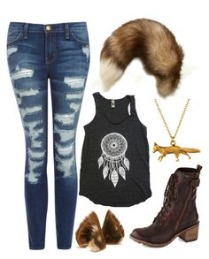 """Fox Therian Outfit"" by libbygirl82 ❤ liked on Polyvore featuring Current/Elliott, Maison Kitsuné, Alternative and Alex Monroe"