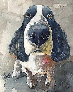 Springer Spaniel Dog 8x10 signed art PRINT from watercolor painting RJK