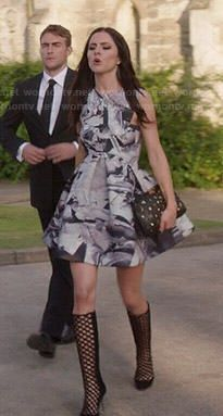 Princess Eleanor's printed fit and flare dress and cutout boots on The Royals. Outfit Details: http://wornontv.net/47650/ #TheRoyals