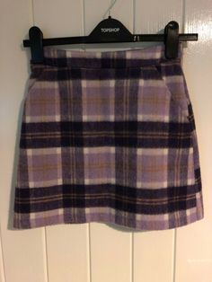 5bffb42a75 Topshop Skirt Size 4 A-line Checked Purple 90s Clueless Woolly #fashion  #clothing