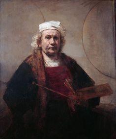 Self-Portrait with Two Circles - Rembrandt van Rijn.  1665-69.  Oil on canvas.  114.3 x 94 cm.  Kenwood House, Hampstead Heath, London, UK.