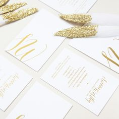 Luxe gold foil business cards for Swoon Worthy Blog | GF Smith 540gsm Pristine White Colorplan & gold foil.