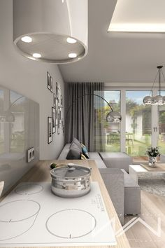 Project apartment Gdynia Wiczlino - Part 2 on Behance Living Room Interior, Home Interior Design, Interior And Exterior, Apartment Plans, Apartment Design, Kitchen Decor, Kitchen Design, German Kitchen, Beautiful Curtains