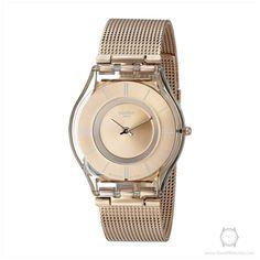 Swatch Women's SFP115M Skin Analog Display Swiss Quartz Rose Gold Watch