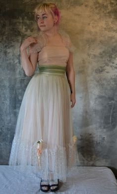 Pale Pink & Sage Green Party Dress by Petrune on Etsy Green Party Dress, Vintage Prom, Pale Pink, Sage, Whimsical, Etsy Seller, Prom Dresses, Colors, How To Wear