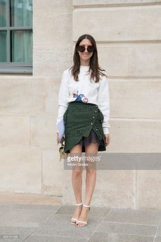 Editorial Director & Director of Partnerships at OliviaPalermo.com Jilian Magenheim wears a Self Portrait skirt , Gianvito Rossi shoes day 2 of Paris Haute Couture Fashion Week Autumn/Winter 2017, on July 3, 2017 in Paris, France.