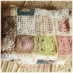 Crochet Granny Square Blankets Beautiful crocheted cotton blanket- color scheme for a baby girls room. Light colors and vintage Crochet Squares, Crochet Afghans, Crochet Granny, Crochet Motif, Baby Blanket Crochet, Crochet Stitches, Crochet Baby, Crochet Patterns, Granny Squares