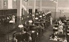 1936. São Paulo. Telephones operators in Cia. Telefonica in 7th April Street