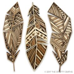 """Your daily dose of Inspiration: Layered Wood Art – Three Feathers – """"Golden Eagle"""" + """"Red-Tailed Hawk"""" + """"Starling"""" – Unique Lase Hawk Feathers, Eagle Feathers, Wooden Art, Wood Wall Art, Scrap Wood Art, Wood Projects, Woodworking Projects, Woodworking Workbench, Woodworking Books"""