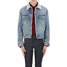 Saint Laurent Men's Trucker Jacket ($2,290) ❤ liked on Polyvore featuring men's fashion, men's clothing, men's outerwear, men's jackets, blue, mens outerwear, mens blue jacket, mens jackets and mens trucker jacket